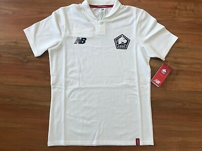NEW Boys 2019 White NEW BALANCE LOSC LILLE FOOTBALL POLO Shirt (age8-9) *BNWT*