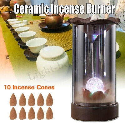 Ceramic Backflow Incense Burner Smoke Cones Holder Sticks Censer Clay Decor New
