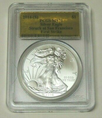 2014(S) Silver Eagle ~ Pcgs Ms70 ~ First Strike ~ Gold Foil ~ Free Shipping