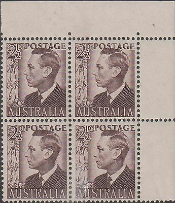 Australia 1951 KG VI 2.05d brown Mint unhinged block 4 stamps