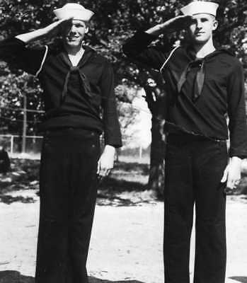 REAL PHOTO POSTCARD: Navy Sailors Men Male Duo Military Salute 40's 40s WW2 WWII