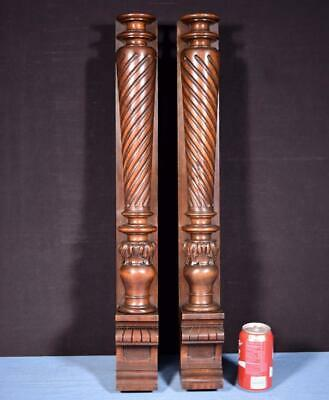 "*28"" Pair of French Antique Walnut Wood Posts/Pillars/Columns with Pedestals"