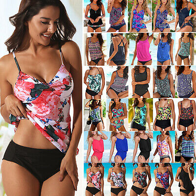 Womens Two Piece Push Up Padded Tankini Bikini Swimsuit Bathing Suit Swimwear LC