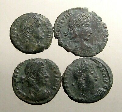 LOT OF 4 ROMAN BRONZE COINS___Practice Identification Skills__GREAT ROMAN EMPIRE
