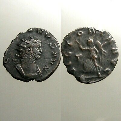 ROMAN EMPEROR GALLIENUS___Billon Antoninianus___VICTORY HOLDING WREATH & PALM