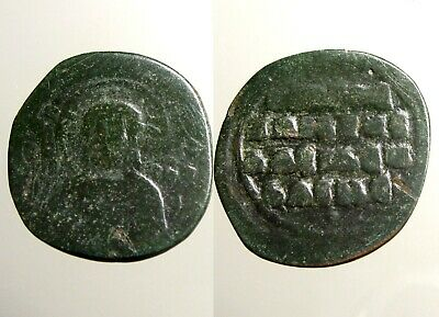 JOHN I / ANONYMOUS BRONZE AE32 FOLLIS___Bust of Christ___BYZANTINE EMPIRE