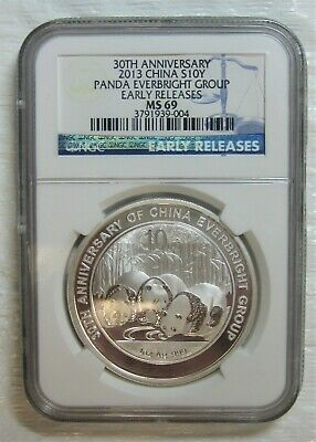 2013 Silver Panda - China 10 Yuan -  Everbright - NGC MS69 - Early Releases