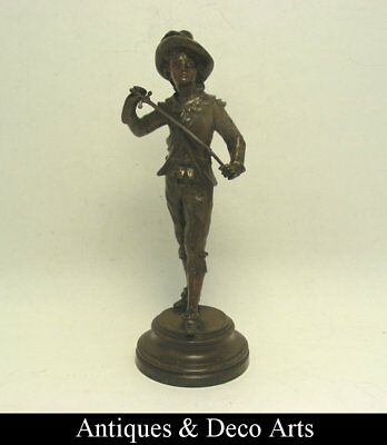 Antique Bronze Figure of an 17th Century Officer or Musketeer with Sword