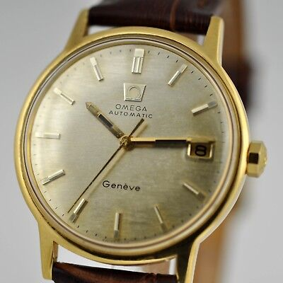 REAL VINTAGE 1970s OMEGA AUTOMATIC GENEVE GOLD PLATED QUICKSET DATE WATCH SWISS