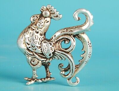 Chinese Cupronickel Hand Carving Chicken Animal Statue Old Antique Collection
