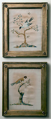Framed  Antique English or French Embroidery of Birds on silk  ca 1800-1820