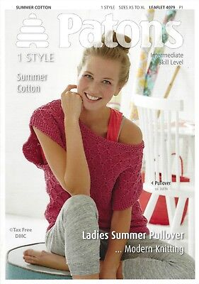 3acc076da VAT Free Knitting PATTERN ONLY Patons Ladies Summer Pullover Jumper 4079 New