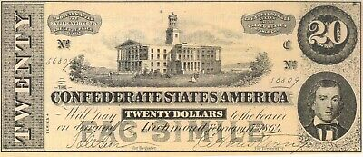 1864 $20 Dollars Confederate Facsimile Ad Note Bill Dr Morse's Indian Root Pills