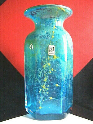 "MDINA HARRIS 7.6"" Sapphire,Ochre 1972 HEXAGONAL ARCHED BOTTLE VASE -Signed + Lab"