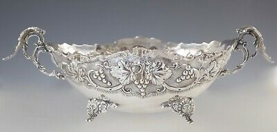 Vintage Greek 925 Sterling Centerpiece Bowl Footed Handles Grapes 366.8G Xeipoe