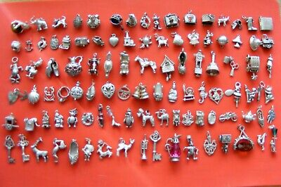 A9 Vintage Sterling Silver Charms Charm Cat Jug Heart Clog Deer Boot Teddy Bell