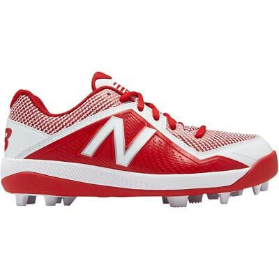New Balance J4040TR4 Youth Boys Baseball Cleats Red/White Molded Rubber Bottom