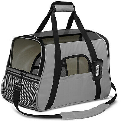 Pet Carrier Soft Sided Cat Dog Comfort Travel Tote Bag Airline Approved Gray