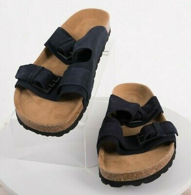 73e7dec118524c Zara Man Men Slides Sandals 2 straps Eu 44 US 11 Buckle Navy Blue Shoes 2706