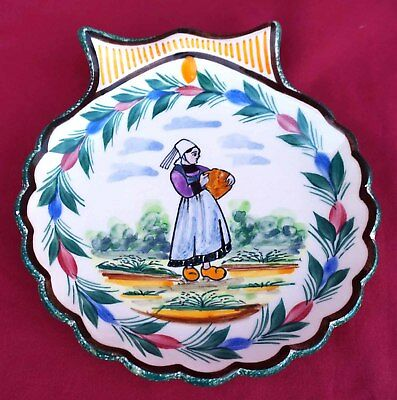 HB QUIMPER Individual Oyster Plate Bretonne Shell Hand Painted Faience  1950