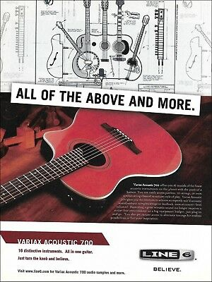 The Line 6 Variax Acoustic 700 Guitar 8 X 11 Advertisement 2005