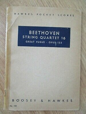 HAWKES POCKET SCORE Beethoven String Quartet 16 Great Fugue Opus 133 Sheet  Music