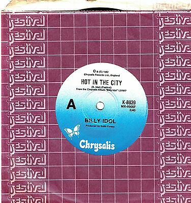 """Billy Idol - Hot In The City - 7"""" 45 Vinyl Record - 1982"""