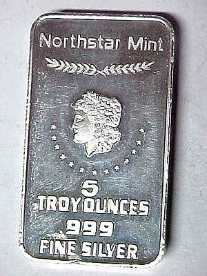 5 oz Silver Bar Morgan Dollar Motif .999 Fine Silver Northstar Mint 5 Troy Ounce