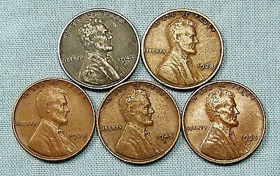 (1) 1943 D Lincoln Steel Cent & (4) Copper Wheat Varies Date and mint *33902