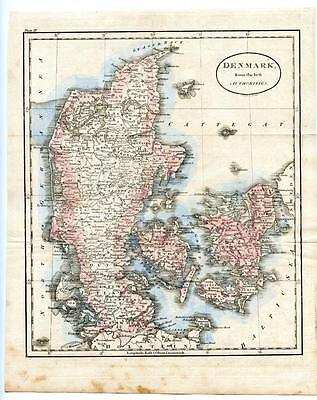 18th Century 1700s Copper Engraving Hand Colored Map Denmark Sweden J. Russell