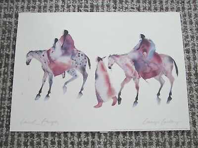 Carol Grigg Watercolor Print Art Picture Gango Gallery Horseback Walking Framed