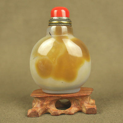 Beautiful Chinese Agate Snuff Bottle, With Red Coral Top Lid