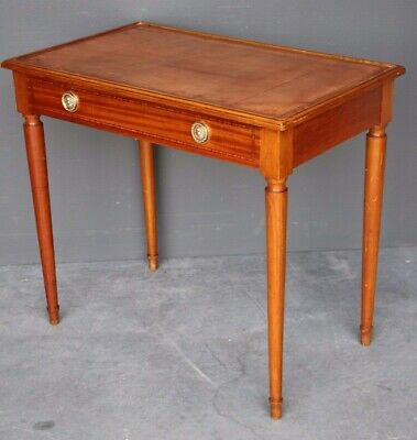 French antique cherrywood writing table inlaid leather single drawer Art Deco