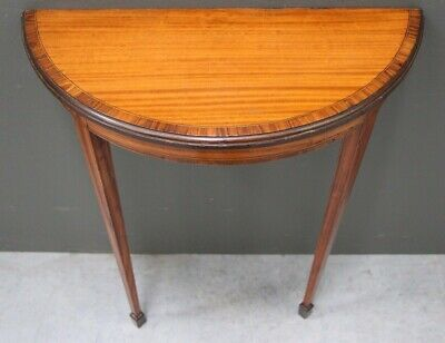 Antique satinwood English Sheraton hall console table marquetry inlaid bedside