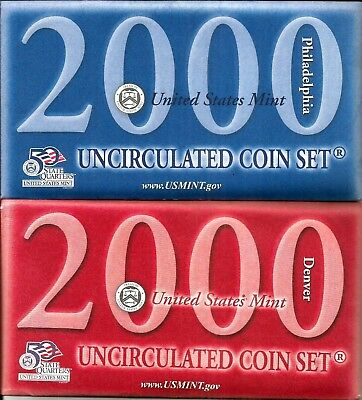 2000 US Mint Uncirculated Coin Sets ~ Philadelphia and Denver + State Quarters