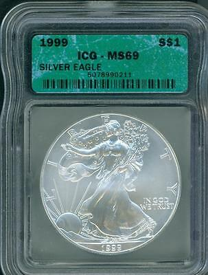1999 American Silver Eagle ASE S$1 ICG MS69 MS-69 Premium Quality  PQ+