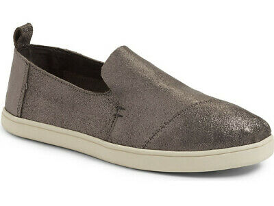 2b6e39069bb NEW TOMS Deconstructed Alpargata Slip-On Pewter Leather Flat Sneaker US  6 36.5