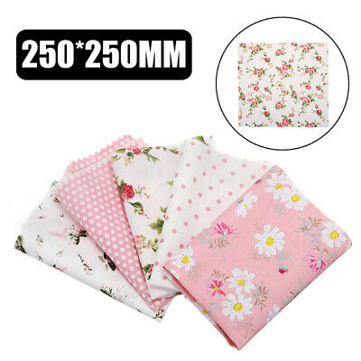 5pcs Assorted Pre-Cut Plain Cotton Quilt Cloths Fabric For Sewing Craft DIY set