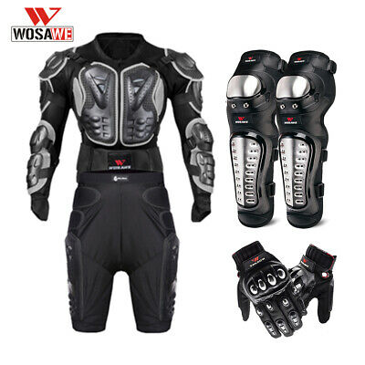 Motorcycle Protective Gear Body Armor Jacket Shorts Gloves Knee Guards Motorbike