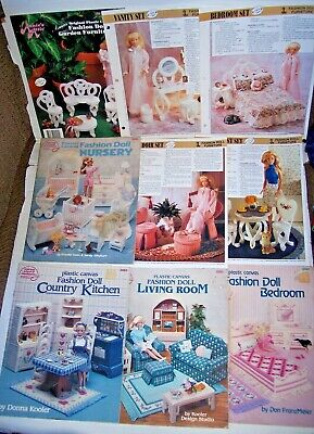 Lot 5 Fashion Doll Plastic Canvas Patterns Bedroom Living Room Kitchen Nursery +