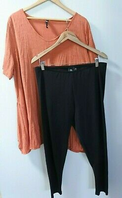 TS Taking Shape Burnt Orange Top/Dress with Black Tights - Size M 18/20