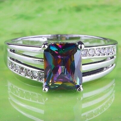 Silver Mystic Topaz Cocktail Ring Size 12 Rhodium Plated Princess Cut Simulated