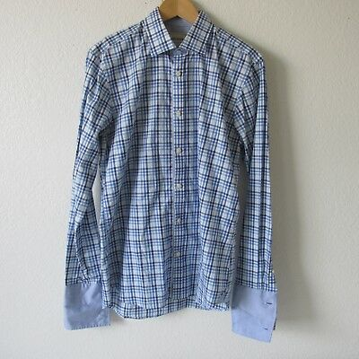 0ed1c9b2e24b9 Ted Baker London Archive Men s Long Sleeve Button Down Plaid Shirt French  Cuffs