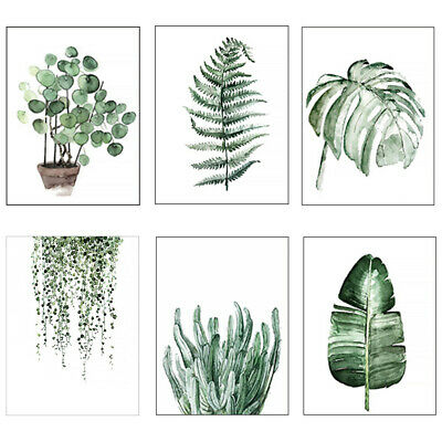 Modern Watercolor Plant Canvas Painting Palm Leaf Art Print Wall Poster Decor