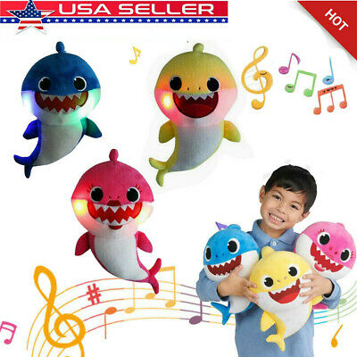 Baby Shark Plush LED Singing Plush Toys Music Doll English Song Toy Kids Gift