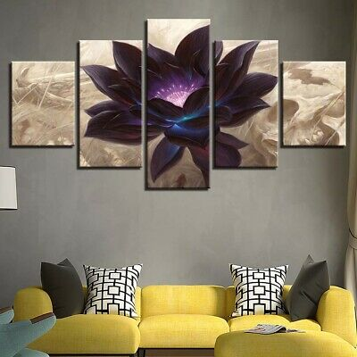 Black Lotus Abstract Flower 5 Pcs Canvas Wall Art Painting Poster Home Decor