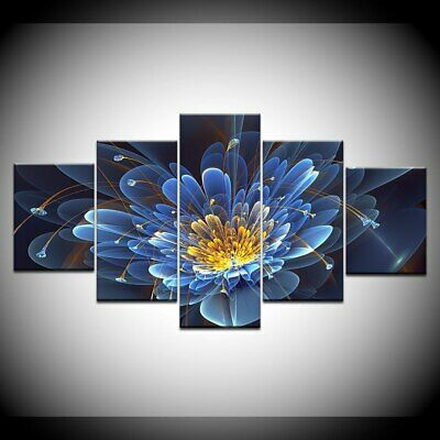 Blue Digital Abstract Flower 5 Pcs Canvas Wall Art Painting Poster Home Decor