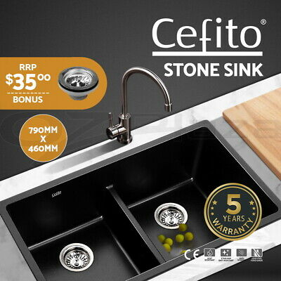 Cefito Stone Sink Double Bowl Black Kitchen Granite Top/Undermount 790x460mm