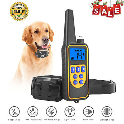 Waterproof Dog Training Shock Collar With Remote Electric For Large 875 Yard Pet