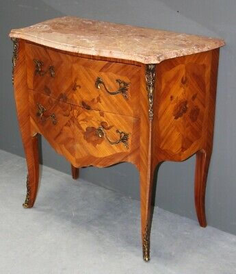 Small antique ornate French Louis XV marquetry inlay ormolu chest drawers marble
